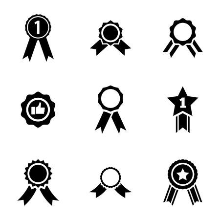 Vector black award medal icons set on white background