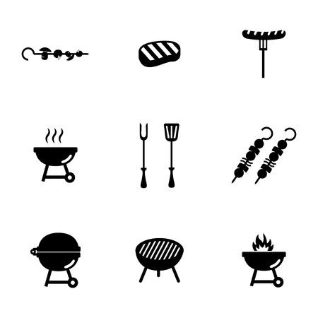 Vector black barbecue icons set on white background Vector