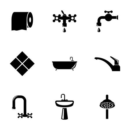 Vector black bathroom icons set on white background