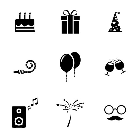 Vector black birthday icons set on white background Vector
