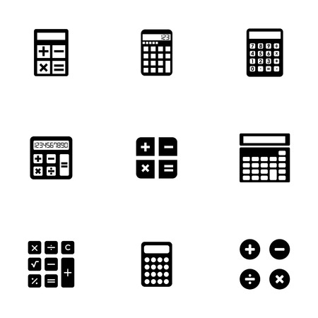 math icon: Vector black calculator icons set on white background