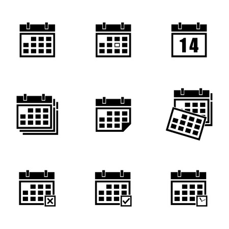 Vector black calendar icons set on white background Vector