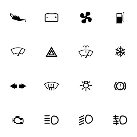 airbag: Vector balck car dashboard icons set on white background