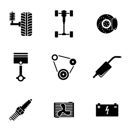 Vector black car parts icons set white background Illustration