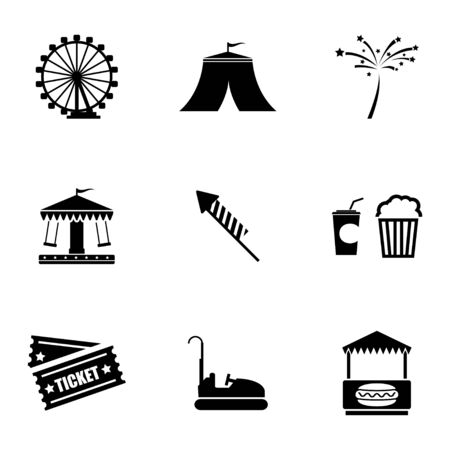 rollercoaster: Vector black carnival icons set on white background