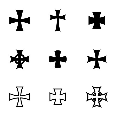 germanic: Vector black choppers crosses icons  white background