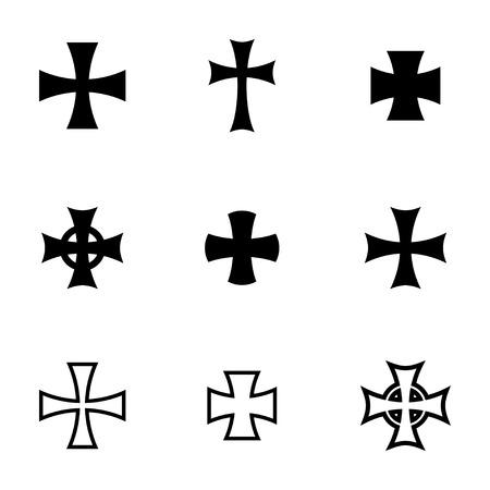 gang member: Vector black choppers crosses icons  white background
