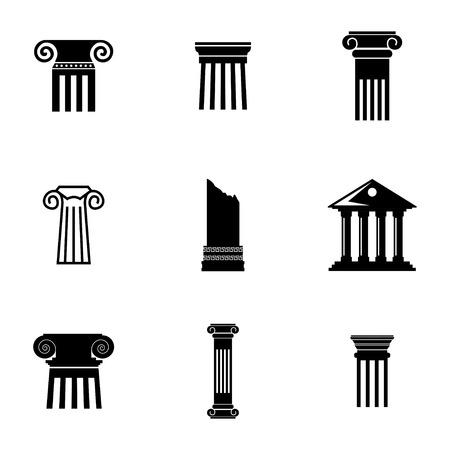 pillar: Vector black column icons set on white background