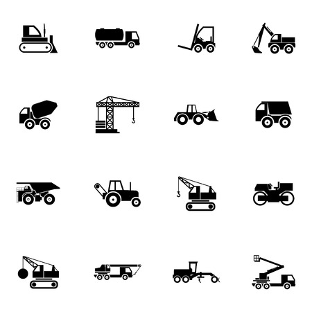 dozer: Vector black construction transport icons set on white background Illustration