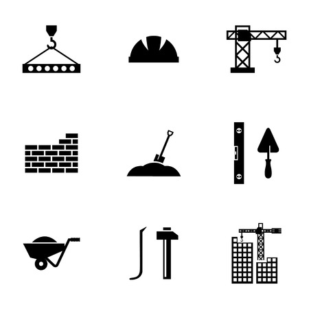 Vector black construction icons set on white background Vector