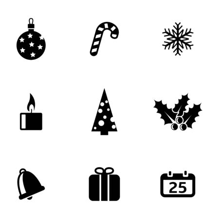 cristmas: Vector black cristmas icons set on white background Illustration