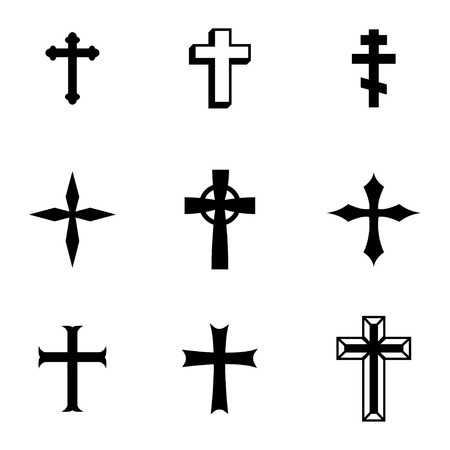 Vector black christia crosses icons set on white background Vector