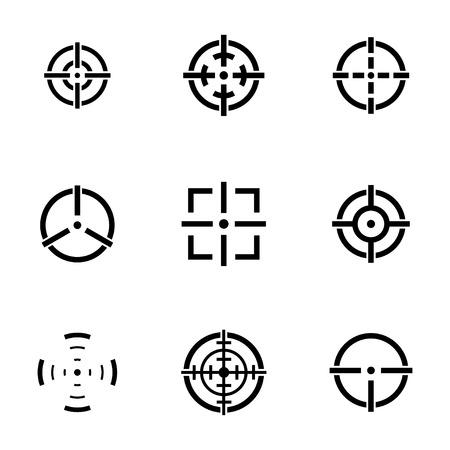 Vector balck crosshair icons set white background Illustration