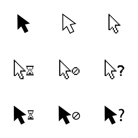 Vector black mouse cursor icons set on white background
