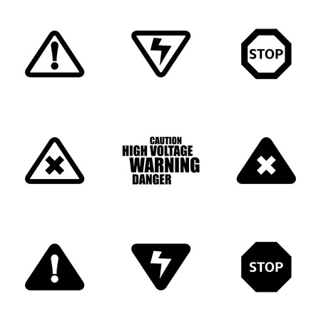 voltage danger icon: Vector black danger icons set on white background Illustration