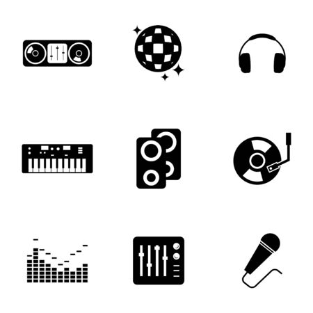 Vector black dj icons set on white background Vector