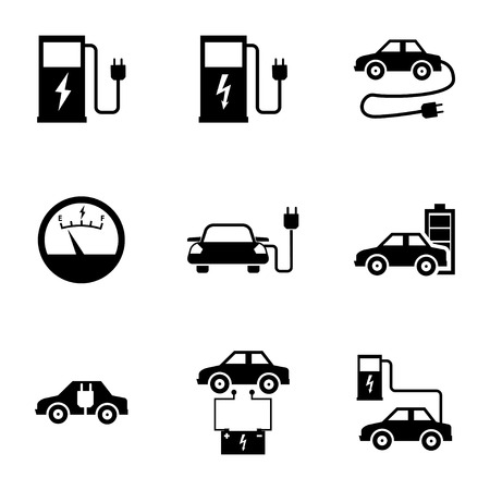 electric vehicle: Vector black electric car icons set white background