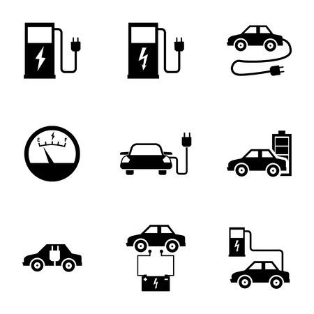 Vector zwarte elektrische auto pictogrammen instellen witte achtergrond