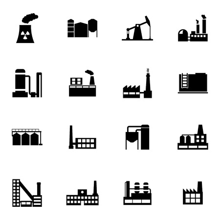 Vector black factory icons set on white background