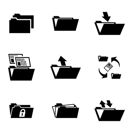 Vector black folder icons set on white background