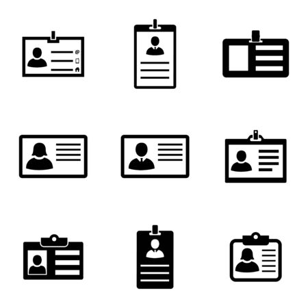 licence: Vector black id card icons set on white background