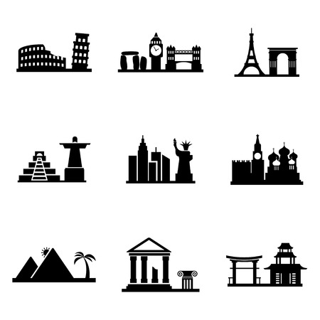 Vector black landmarks icons set on white background Vector