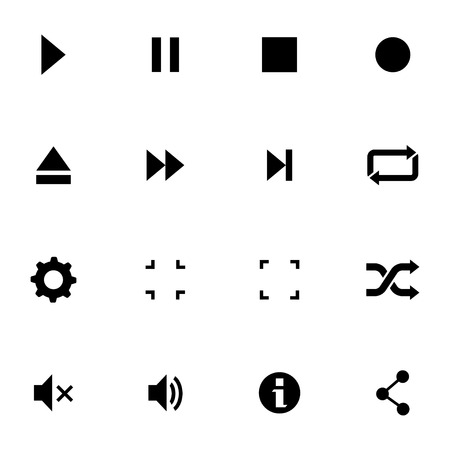 Vector black media player icons set on white background Vector