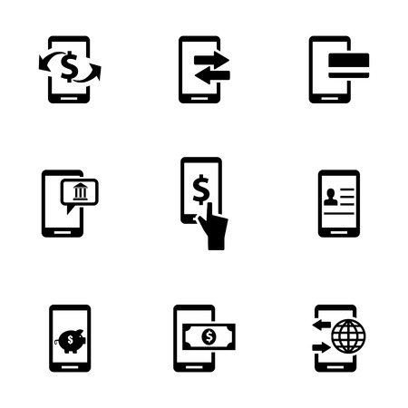 Vector black mobile banking icons set on white background