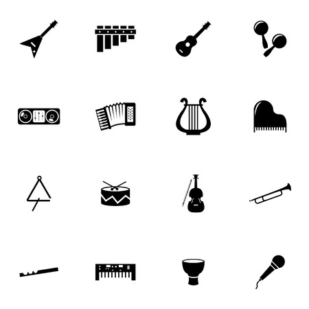 Vector black music instruments icons set on white background Vector