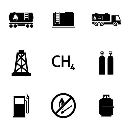storage tank: Vector black natural gas icons set on white background Illustration