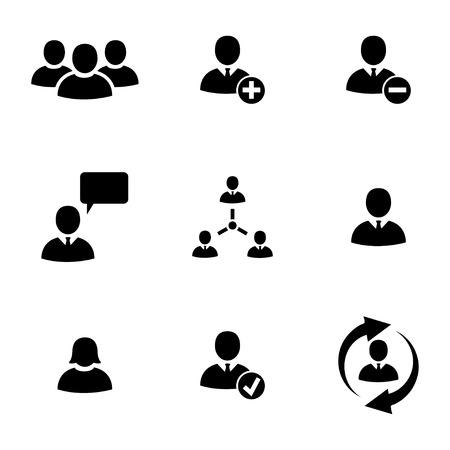 Vector black people icons set fond blanc Vecteurs