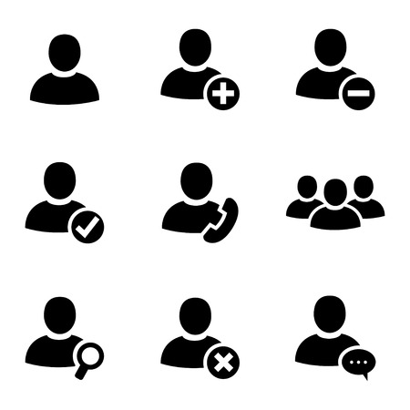 Vector black people icons set on white background Vector