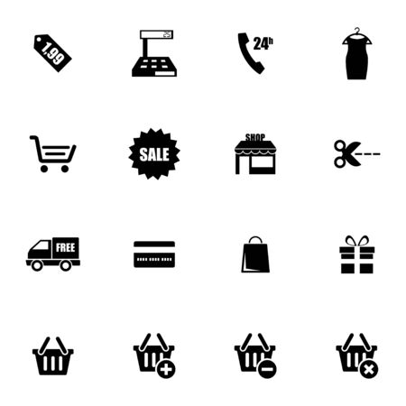 add to basket: Vector black shopping icons set on white background