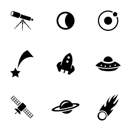 Vector black space icons set on white background Vector