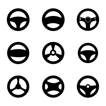 Vector black Steering wheels icons set on white background Illustration