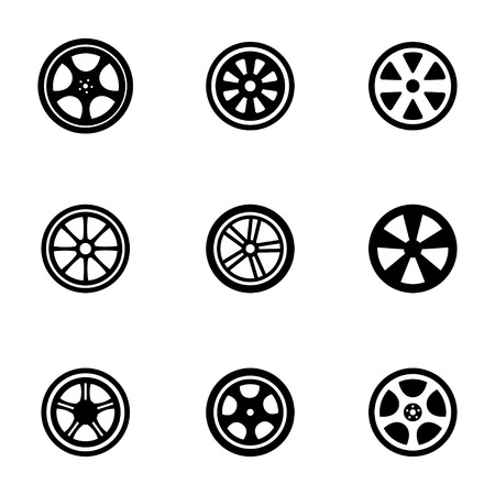 alloy wheel: Vector black wheel disks icons set on white background