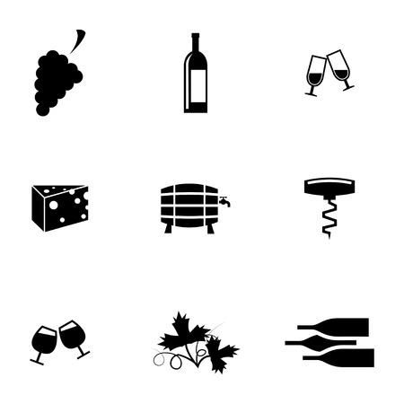 wine barrel: Vector black wine icons set on white background