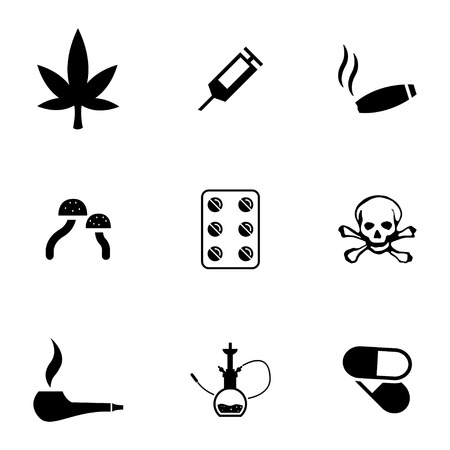 heroin: Vector black drugs icons set on white background Illustration