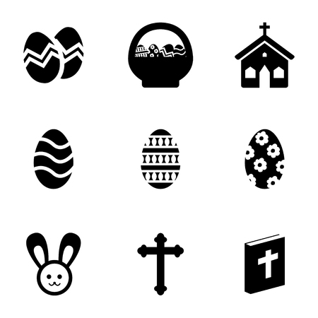 Vector black easter icons set on white background Vector