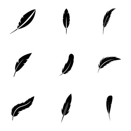 pluma: Vector iconos de plumas negro establecidos en el fondo blanco