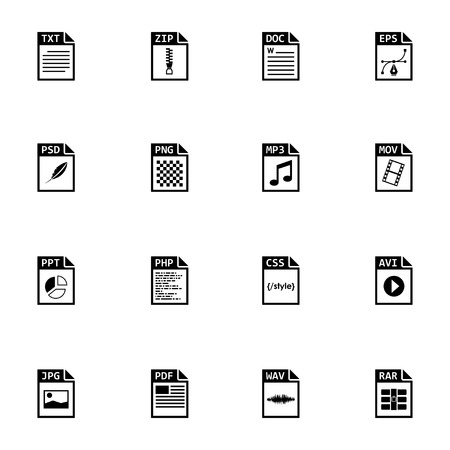 avi: Vector black file type icons set on white background