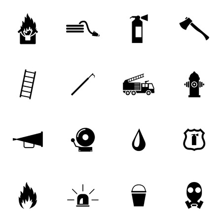 gas mask warning sign: Vector black  firefighter icons set on white background