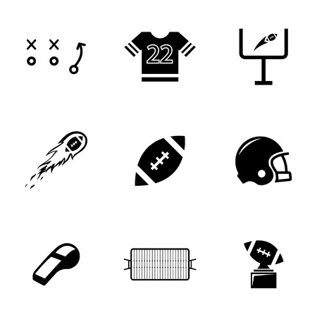 football jersey: Vector black football icons set on white background
