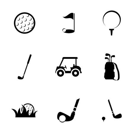 golf cart: Vector black golf icons set on white background