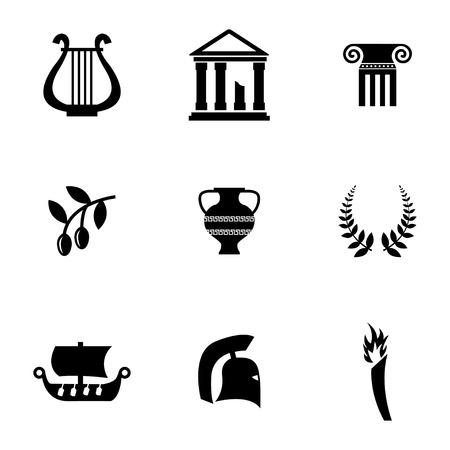 derecho romano: Vector negro iconos Grecia Situado en el fondo blanco