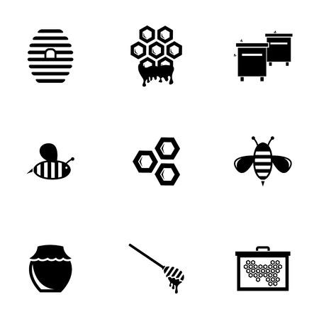 Vector black honey icons set on white background
