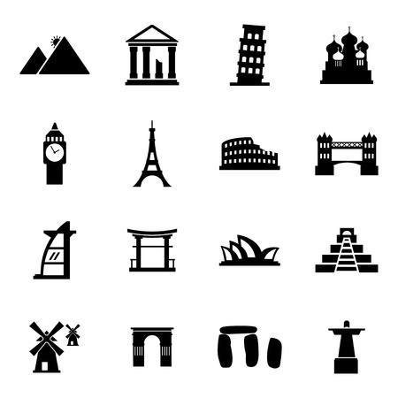 Vector black landmark icons set on white background Vector