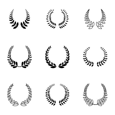 Vector black laurel wreaths icons set on white background