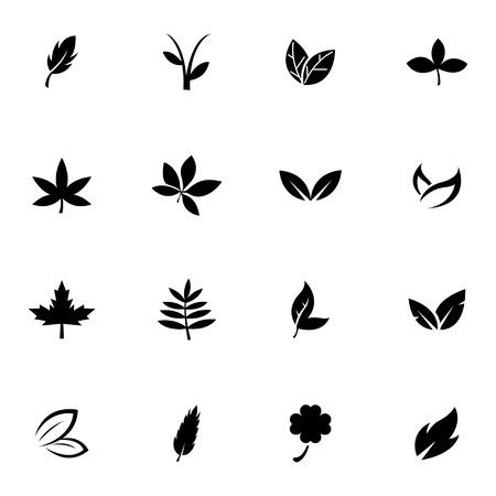 Vector black leaf icons set white background Vector