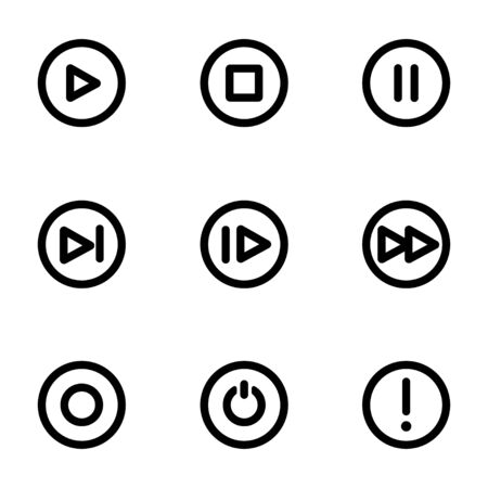 Vector black media buttons icons set on white background Vector